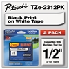 "Brother P-Touch TZe Standard Adhesive Laminated Labeling Tapes, 1/2""w, Black on White, 2/Pack"