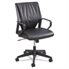 Safco Priya Series Leather Executive Mid-Back Chair, Loop Arms, Black Back/Black Seat