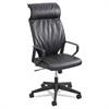 Safco Priya Series Leather Executive High-Back Chair, Loop Arms, Black Back/Black Seat