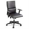 Tuvi Series Executive Mid-Back Chair, Leatherette Back/Seat, Black