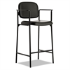 basyx VL636 Series Café-Height Stool, Leather, Black Back/Seat, 2/Carton