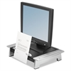 Fellowes Monitor Riser Plus, 19 7/8 x 14 1/16 x 6 1/2, Black/Silver
