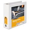 "Heavy-Duty D-Ring View Binder w/Extra-Durable Hinge, 3"" Cap, White"
