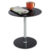 "Safco Glass Accent Table, Tempered Glass/Steel, 17"" Dia. x 19"" High, Black/Silver"