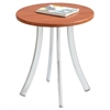 "Decori Wood Side Table, Round, 15-3/4"" Dia., 18-1/2"" High, Cherry/Silver"