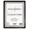NuDell EZ Mount II Document Frame, Plastic, 8-1/2 x 11, Black/Silver