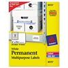 Permanent ID Labels, Inkjet/Laser, 2 x 2 5/8, White, 225/Pack