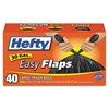 Hefty Easy Flaps Trash Bags, .85 mil, 30gal, Black, 40/Box, 6 Boxes/Carton