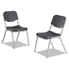 Iceberg Rough N Ready Series Original Stackable Chair, Black/Silver, 4/Carton