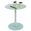 "Safco Glass Accent Table, Tempered Glass/Steel, 17"" Dia. x 19"" High, White/Silver"