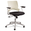 Safco Rêve Series Task Chair, Square Plastic Back, Polyester Seat, Black Seat/Latte