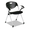 SL Series Nesting Stack Chair with Loop Arms and Casters, Black, 2/Carton