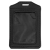Advantus Leather-Look Badge Holder, 3 x 4, Vertical, Black, 5/PK