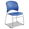 Safco Rêve Series Guest Chair With Sled Base, Lapis Plastic, Silver Steel, 2/Carton