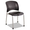Safco Rêve Series Guest Chair W/ Straight Legs, Black Plastic, Silver Steel, 2/Carton