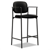 basyx VL636 Series Café-Height Stool, 100% Polyester, Black Back/Seat, 2/Carton