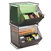 Safco Onyx Stackable Mesh Storage Bin, 4-Compartment, 14 x 15 1/2 x 11 3/4, Black