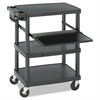 Safco Multimedia Projector Cart, Four-Shelf, 27-3/4w x 18-3/4 x 34-3/4, Black
