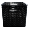 Advantus Weave Bins, 13 7/8 x 10 3/4 x 8 3/4, Plastic, Black, 2 Bins