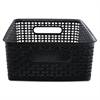 Advantus Weave Bins, 13 7/8 x 10 1/2 x 4 3/4, Plastic, Black, 2 Bins