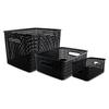 Advantus Weave Bins, Assorted, Plastic, Black, 3 Bins