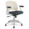 Rêve Series Task Chair, Round Plastic Back, Polyester Seat, Black Seat/Latte