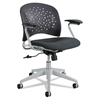 Rêve Series Task Chair, Round Plastic Back, Polyester Seat, Black Seat/Back
