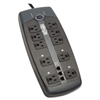 Tripp Lite TLP1008TEL Surge Suppressor, 10 Outlets, 8 ft Cord, 2395 Joules, Black