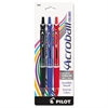 Pilot Acroball Colors Ball Point Pen, 1mm, Black/Blue//Red, 3/Pack