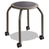 Diesel Series Industrial Stool, Stationary Padded Seat, Casters, Steel/Pewter