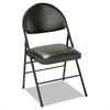 Cosco XL Folding Chairs, Vinyl Seat & Back, Black, 4/Carton