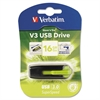 Store 'n' Go V3 USB 3.0 Drive, 16GB, Black/Green