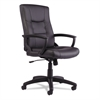 Alera YR Series Executive High-Back Swivel/Tilt Leather Chair, Black