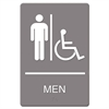 Sign ADA Sign, Men Restroom Wheelchair Accessible Symbol, Molded Plastic, 6 x 9, Gray