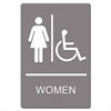 Sign ADA Sign, Women Restroom Wheelchair Accessible Symbol, Molded Plastic, 6 x 9