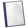 Oxford Linen Finish Clear Front Report Cover, 3 Fasteners, Letter, Navy, 25/Box