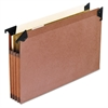 "3 1/2"" Hanging File Pockets with Swing Hooks, 1/5 Tab, Legal, Brown, 5/Box"