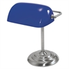 "Traditional Incandescent Banker's Lamp, Blue Glass Shade, 13""h, Chrome Base"