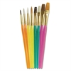 Acrylic Handled Brush Set, Assorted Sizes/Colors, 8 Brushes/Set
