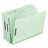 "Pressboard Folders, 2 Fasteners, 2"" Expansion, 1/3 Tab, Letter, Green, 25/Box"