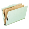 Six-Section Pressboard Folders, Letter, 2/5 Tab, Green, 10/Box