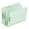 "Pressboard Folders, 2 Fasteners, 3"" Expansion, 1/3 Tab, Letter, Green, 25/Box"