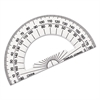 "Charles Leonard Open Center Protractor, Plastic, 4"" Base, Clear"