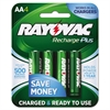 Rayovac Recharge Plus NiMH Batteries, AA, 4/Pack