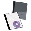 Oxford Clear Front Report Cover, CD Pocket, 3 Fasteners, Letter, Black, 25/Box