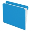 Reinforced Top Tab File Folders, Straight Cut, Letter, Blue, 100/Box