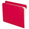 Reinforced Top Tab File Folders, Straight Cut, Letter, Red, 100/Box