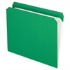 Reinforced Top Tab File Folders, Straight Cut, Letter, Bright Green, 100/Box