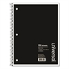Universal 1 Sub. Wirebound Notebook, 10 1/2 x 8, Wide Rule, 70 Sheets, Black Cover