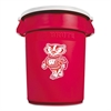 Team Brute Round Container w/Lid, Wisconsin Badgers, 32 Gal, Red/White